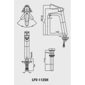 vòi lavabo INAX LFV-112SH đặt bàn cổ cao nóng lạnh